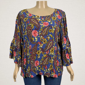 Cato Colorful Paisley Floral Bell Sleeve Shirt Top